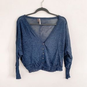 Free People Thin Button Down Cardigan Navy Size XS
